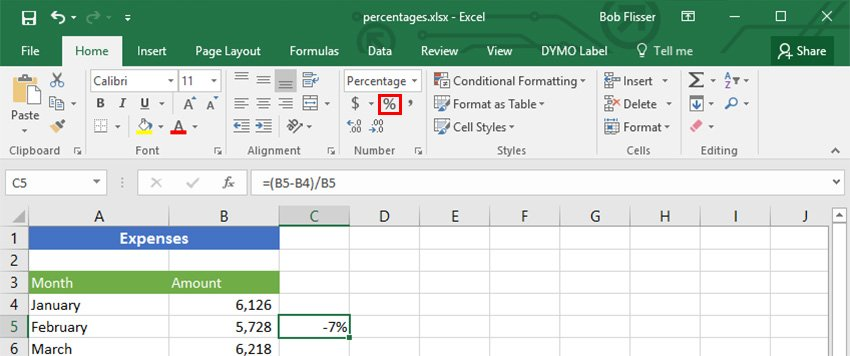 Percent Style button for percent changes