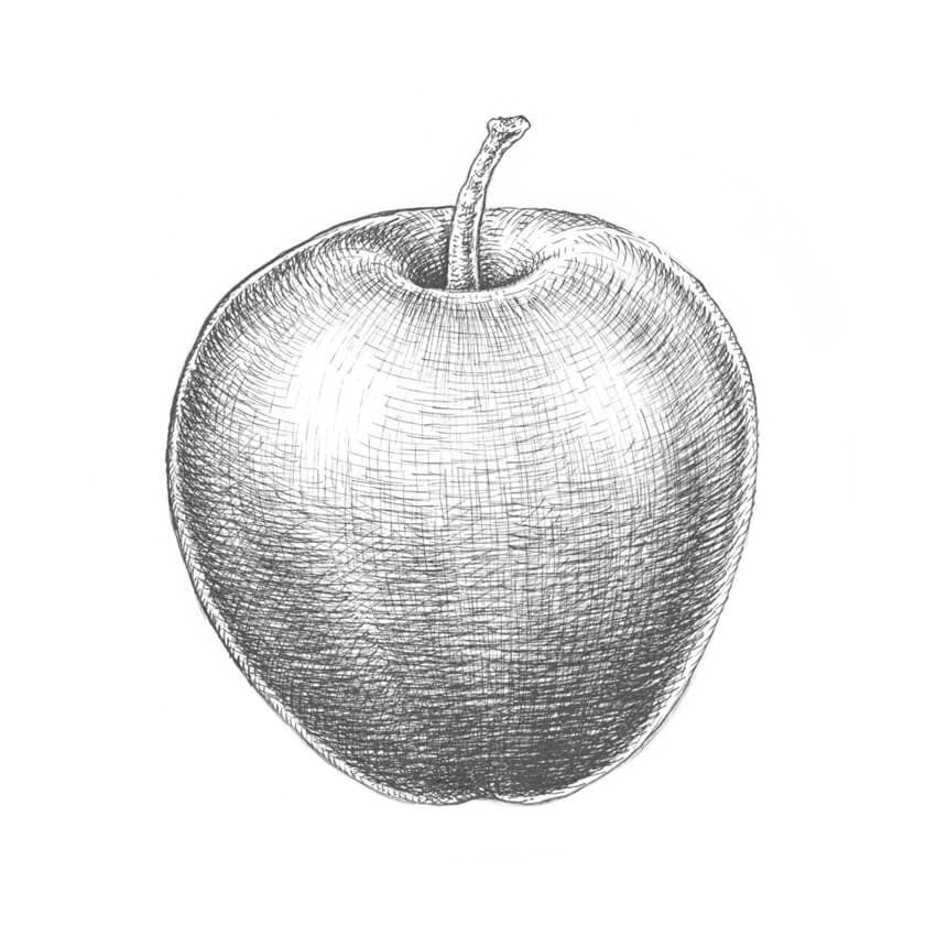 Adding hathing to the inner part of the apple