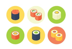Sushi icons isometric tutorial400