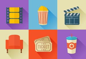Movies flat icons square400