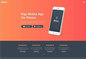 Mobile app landing page preview