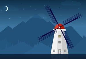 Windmill illustration sketch preview