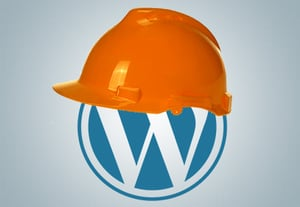 Wordpress logo with safety helmet