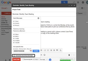 How to send an email later with boomerang for gmail