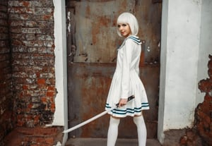 Anime girl with sword poses on abandoned factory 6l5jq9c%20(2)