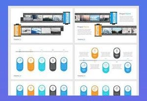 Google slides timelines template preview blue