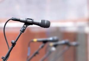 Photodune 7415817 row of microphones for backup singers xs