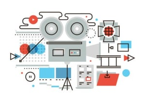 5 business video production flat line illustration thumbnail