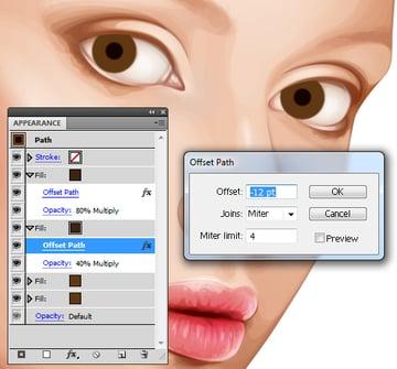 Create a soft edge to the eye