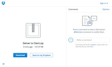Client view on Dropbox