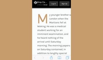 Initial letter demo in Safari iOS