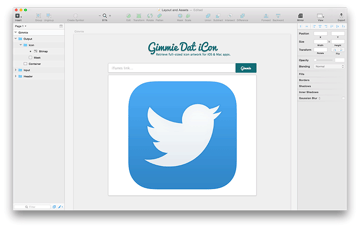 Screenshot of the output component in Sketch