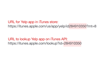 Example of iTunes API and store urls