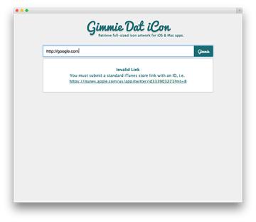 Screenshot of incorrect URL