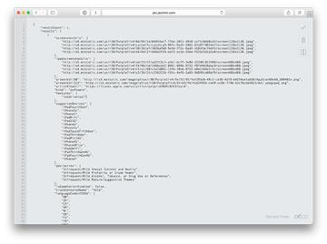 Screenshot of iTunes API response formatted