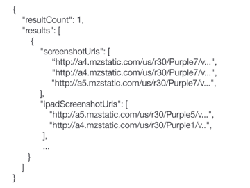 Example API results