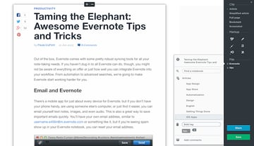 The Evernote WebClipper is the finest helper to grab content from the web and store in your everything bucket