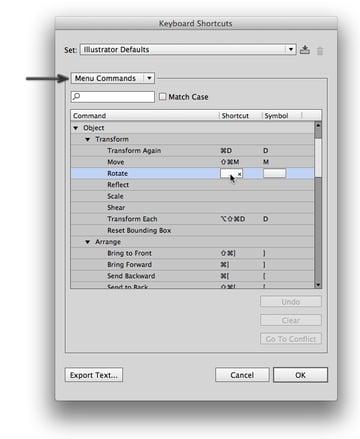 menu shortcuts