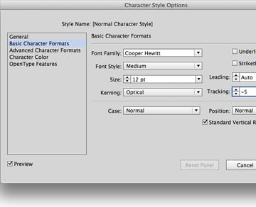character formats