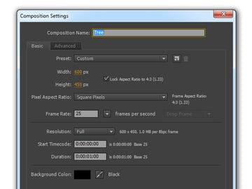Composition settings for tree animation