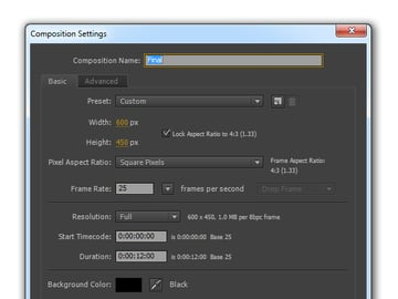 Composition settings for Final animation