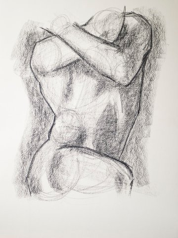 Adding in darker shadows to your charcoal sketch