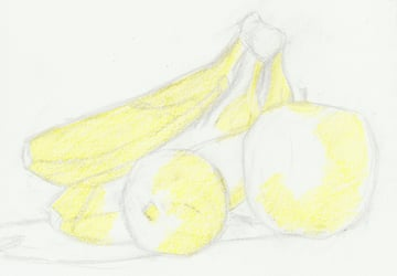 Pencil in first layer of yellows for the still life