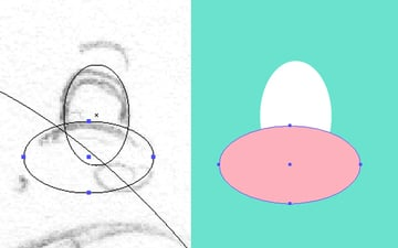create the eye with the Ellipse Tool L