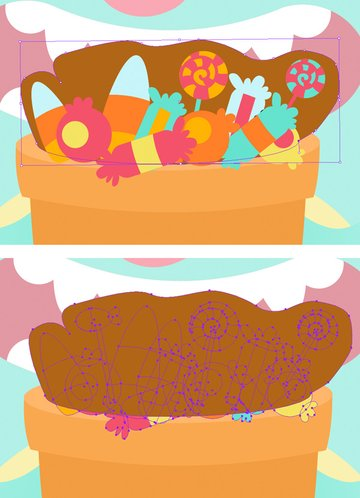 create a shape around candies