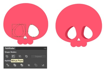 cut out the eye sockets in the scull