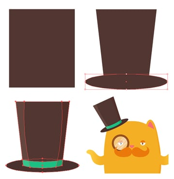 make a top hat from rectangle