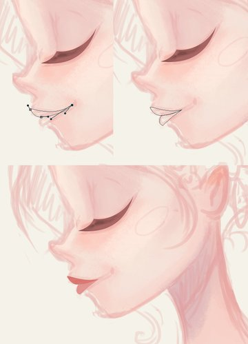 form the lips with the pen tool