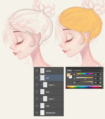 draw the hair shape with the Lasso Tool
