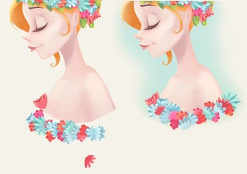 add flowers to the bottom part of the portrait