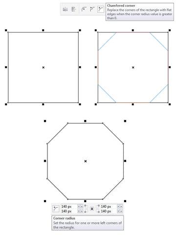 make a square base with Chamfered corners