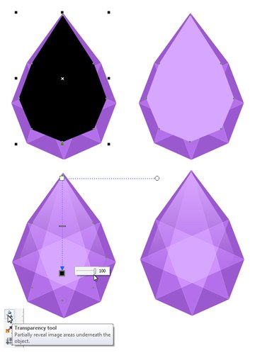 make the gem glossy by adding a highlight with the transparency tool