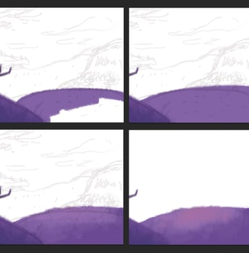 Fill the second hill with lighter violet color