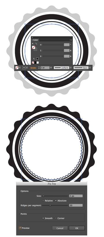 create a zig zag inside the rings