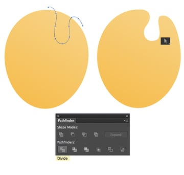 add a curve with Pencil Tool and Divide the shapes in Pathfinder