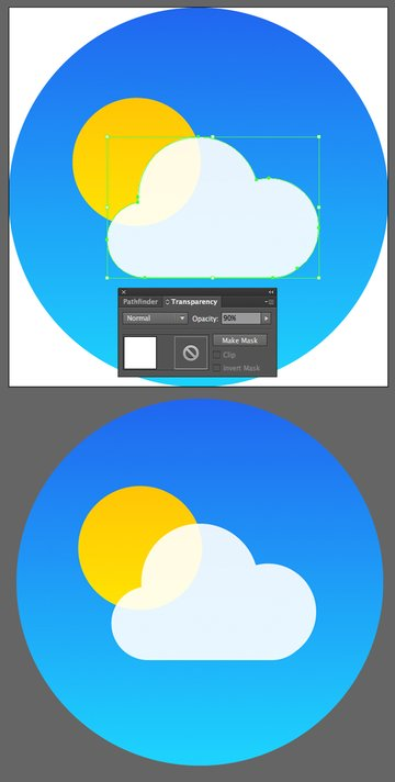 make the cloud white and semi-transparent
