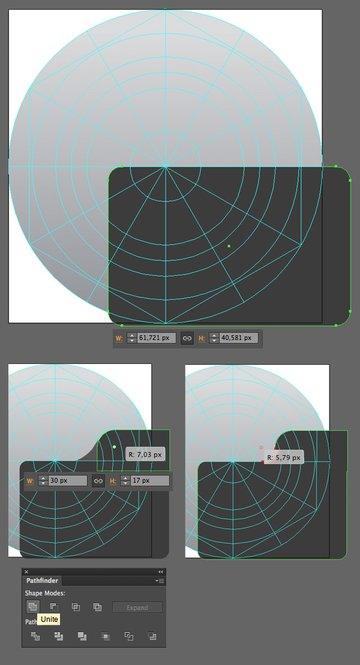 form the camera base from the rounded rectangle