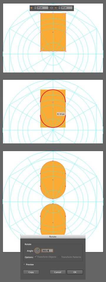 forming the petal from a rectangle