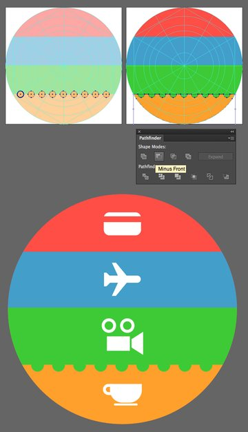 add perforation to the orange stripe and place the pictograms