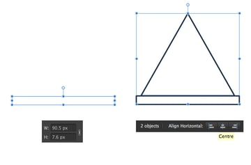 create the base of the tent from rectangle and triangle