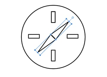 rotate the compass needle