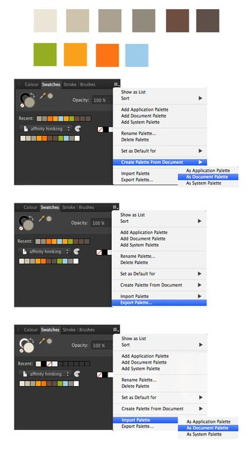 make document color palette in swatches