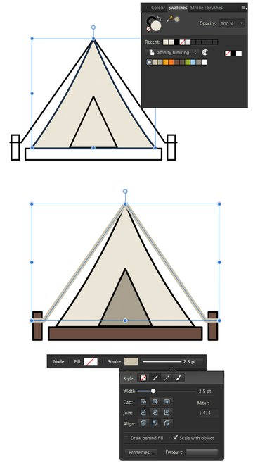 start coloring the tent