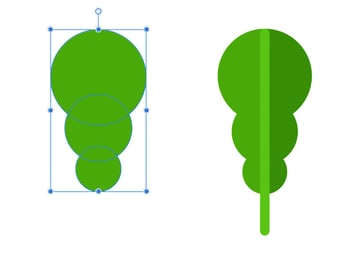 make a green leaf from circles