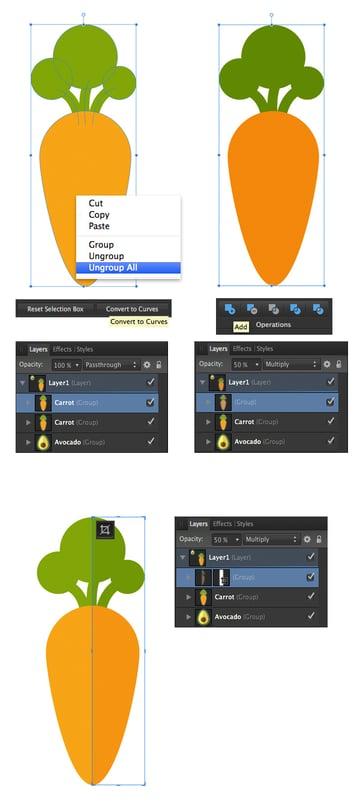 create a shadow on the carrot