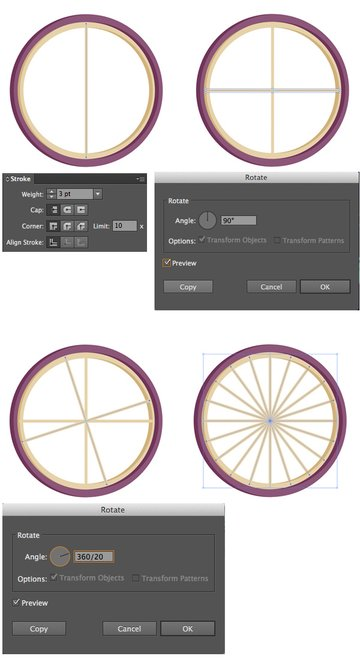 add spokes to the wheel